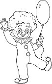 Coloring book for children: Halloween characters (clown and balloon)