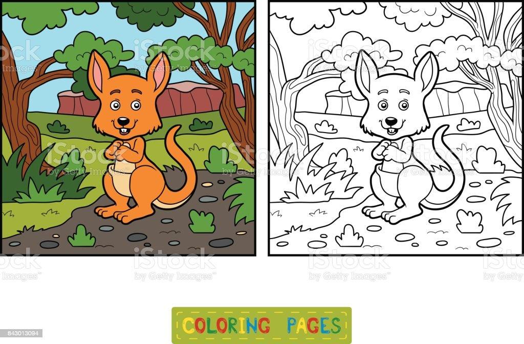 Libro De Colorear Para Niños Canguro Illustracion Libre de Derechos ...