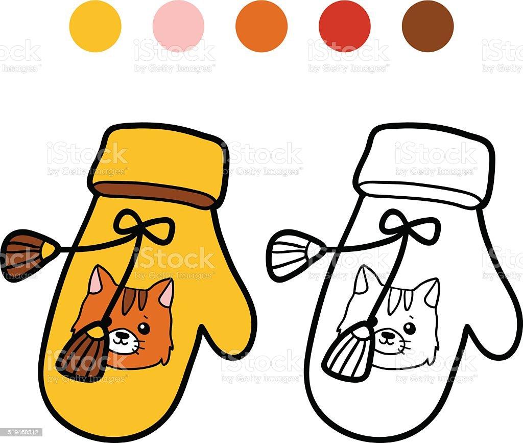 Libro Para Colorear Con Los Niños Tejido Mitón Con Gato - Arte ...