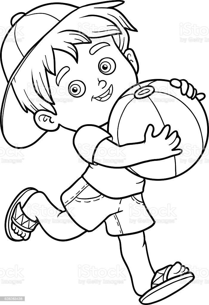 Ilustración de Libro De Colorear Para Niños Niño Pequeño Con La Bola ...
