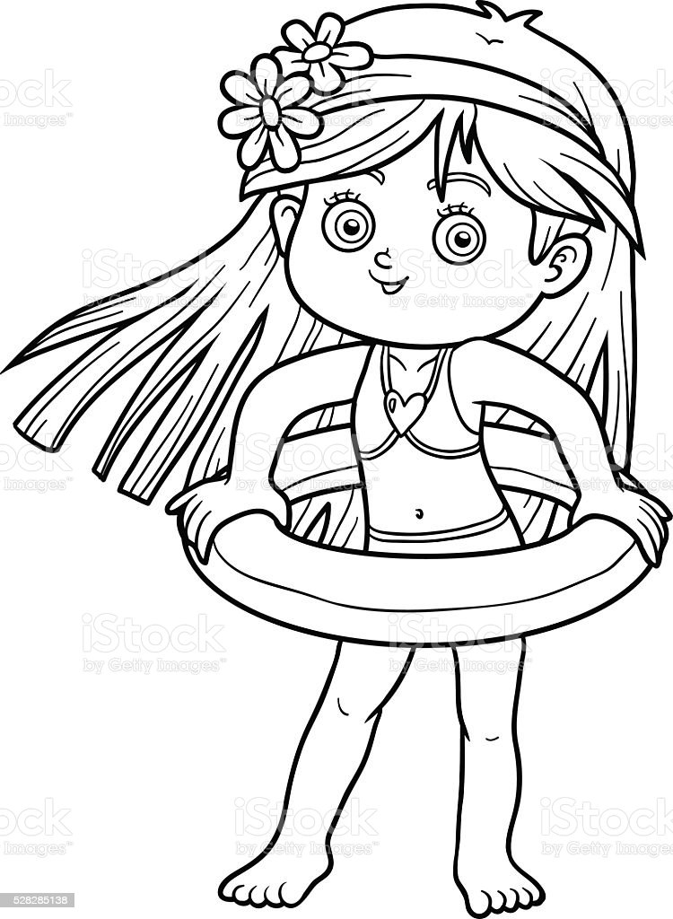 Coloring Book For Children Little Girl On The Beach Royalty Free Stock Vector Art