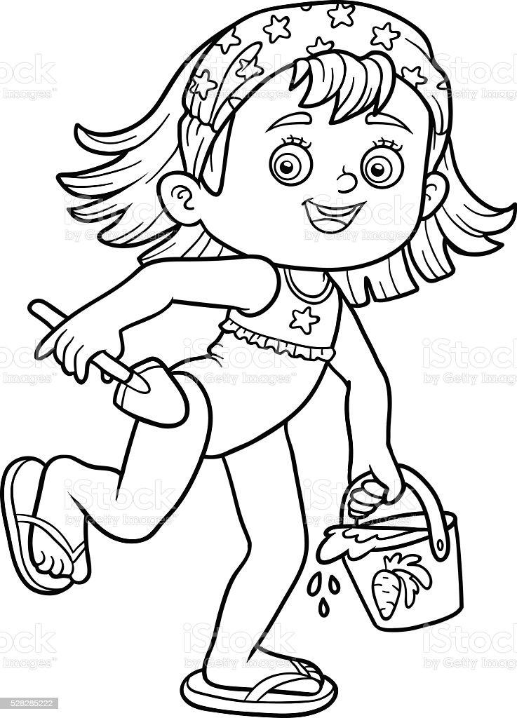 Ilustración de Libro De Colorear Para Niños Niña Pequeña En La Playa ...