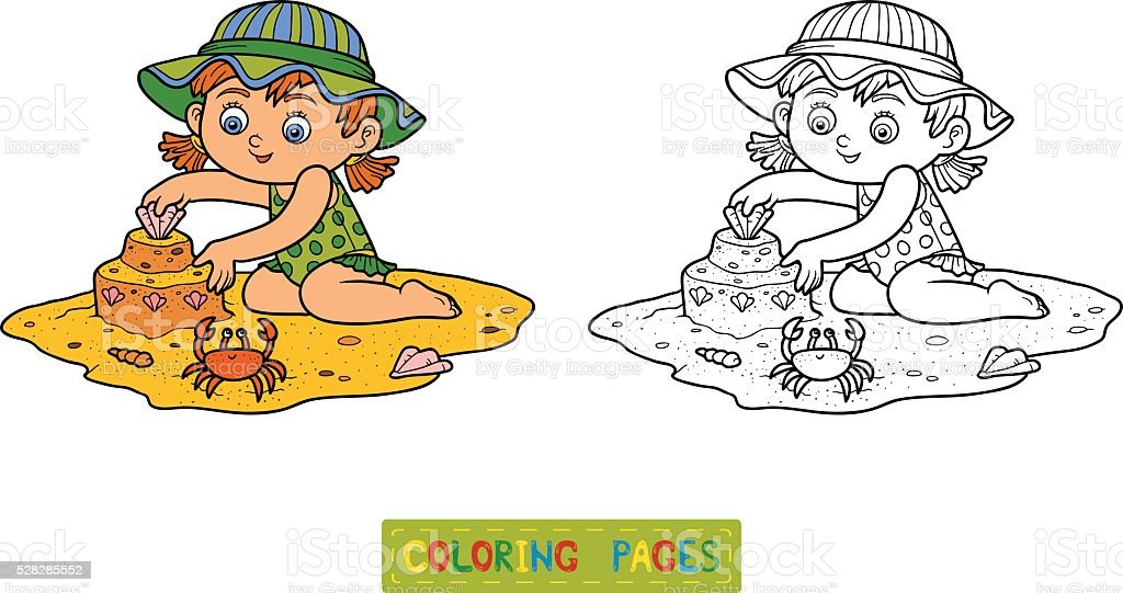 Coloring Book For Children Little Girl On The Beach Stock Vector ...