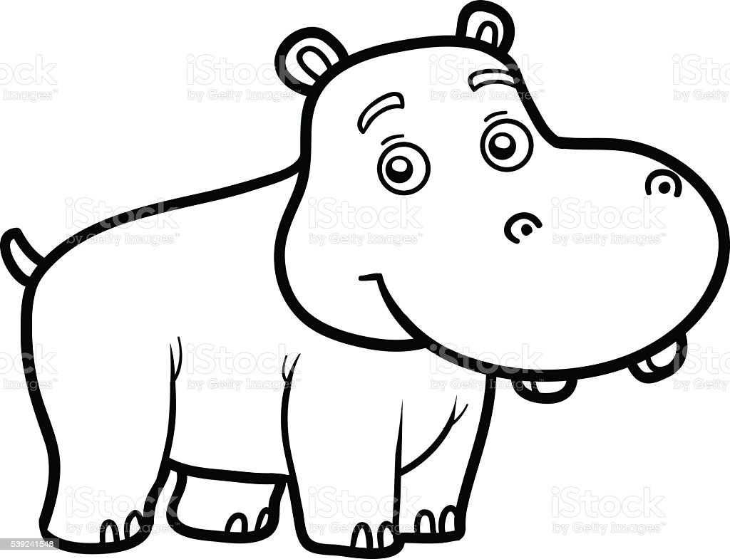 Coloring book for children little hippo stock vector art for Baby hippo coloring pages
