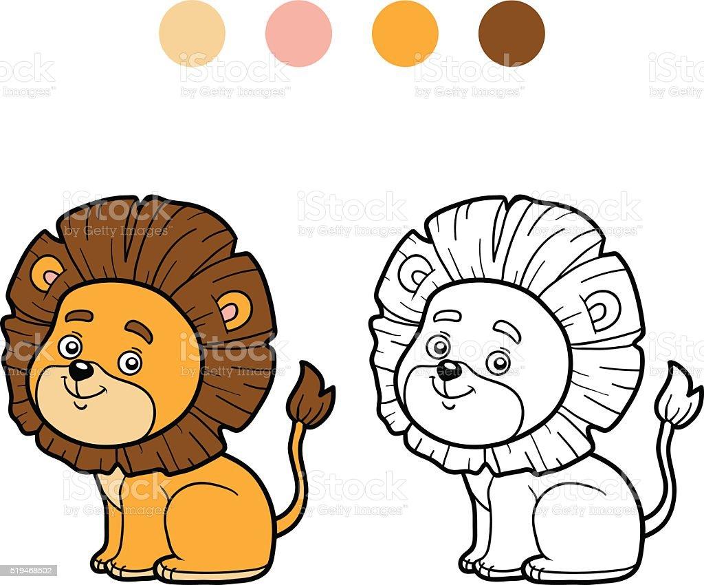 Libro Da Colorare Per Bambini Piccoli Leone Immagini Vettoriali