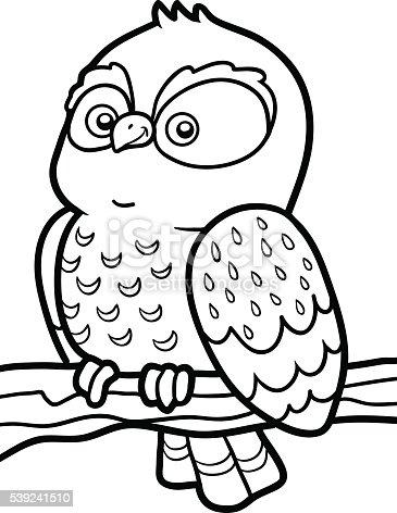 Coloring Book For Children Little Owl Stock Vector Art