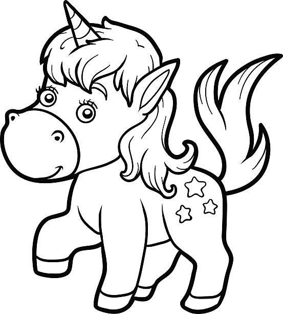 Vectores de Bebé Unicornio Para Colorear Página e Ilustraciones ...
