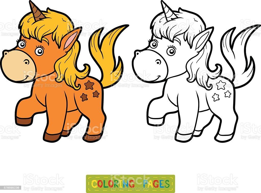 Ilustración de Libro De Colorear Con Los Niños Poco Unicornio y más ...
