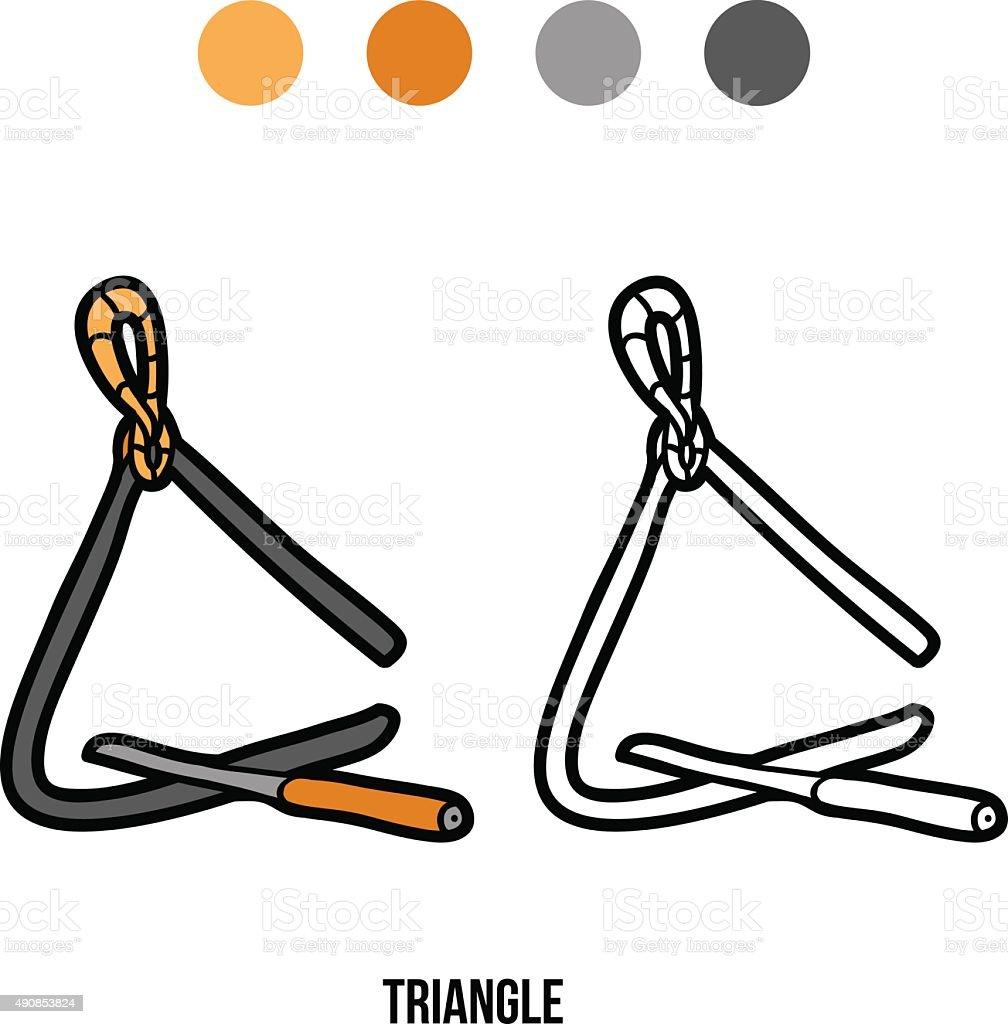 Libro Para Colorear Con Los Niños Music Instruments Triángulo - Arte ...