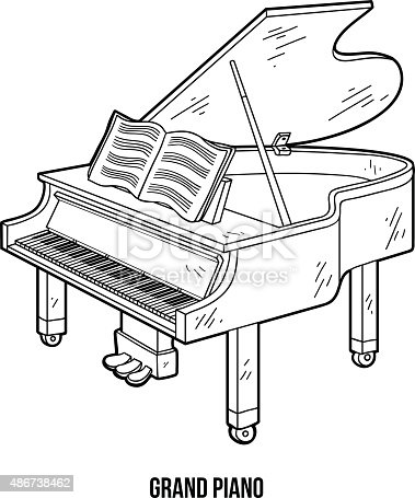 Kolorowanka dla dzieci instrumenty muzyczne grand piano for Disegno di piano domestico
