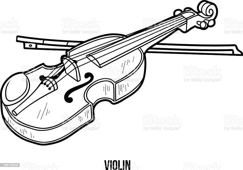 Libro Para Colorear Con Los Niños Instrumentos Musicales Violín ...