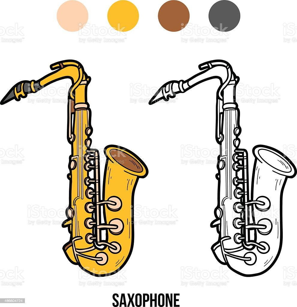 Libro Para Colorear Con Los Niños Instrumentos Musicales Saxofón ...