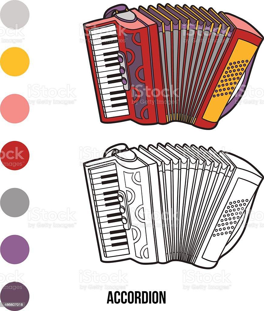 Libro para colorear con los niños: Instrumentos musicales (acordeón - ilustración de arte vectorial