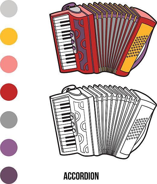 Malbuch für Kinder: Musikinstrumente (Akkordeon – Vektorgrafik