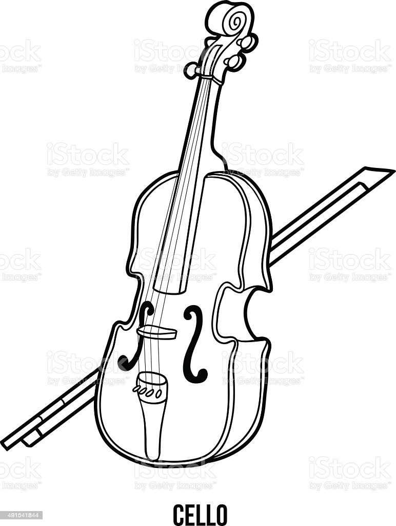 Libro Da Colorare Per Bambini Strumenti Musicali Violoncello