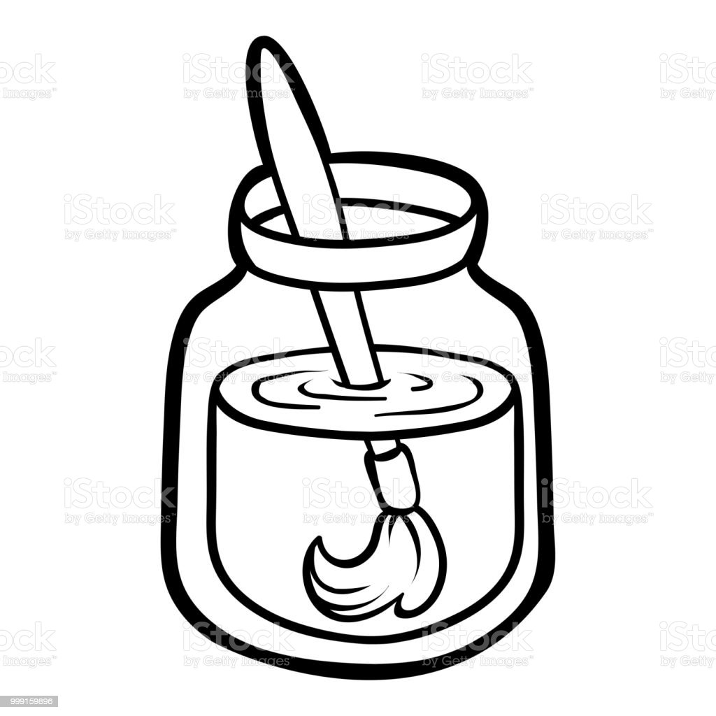 Coloring Book For Children Paint Brush In A Jar Stock Vector Art ...