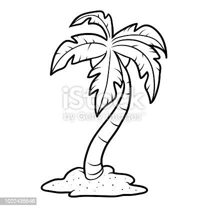 istock Libro para colorear para los niños, de la palma en la playa ...