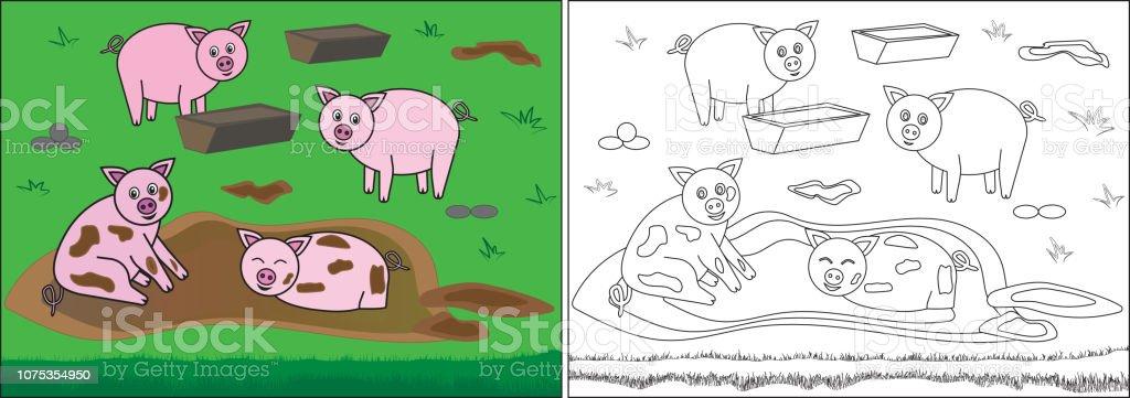 Ilustración De Libro De Colorear Para Los Niños Cerdos En El Barro