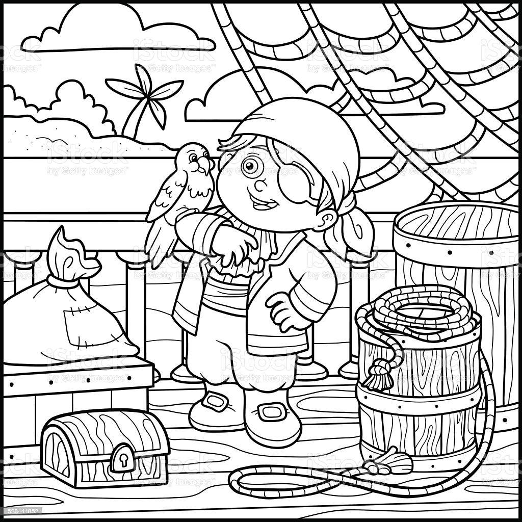 Libro De Colorear Para Niños En Un Barco Pirata - Arte vectorial de ...