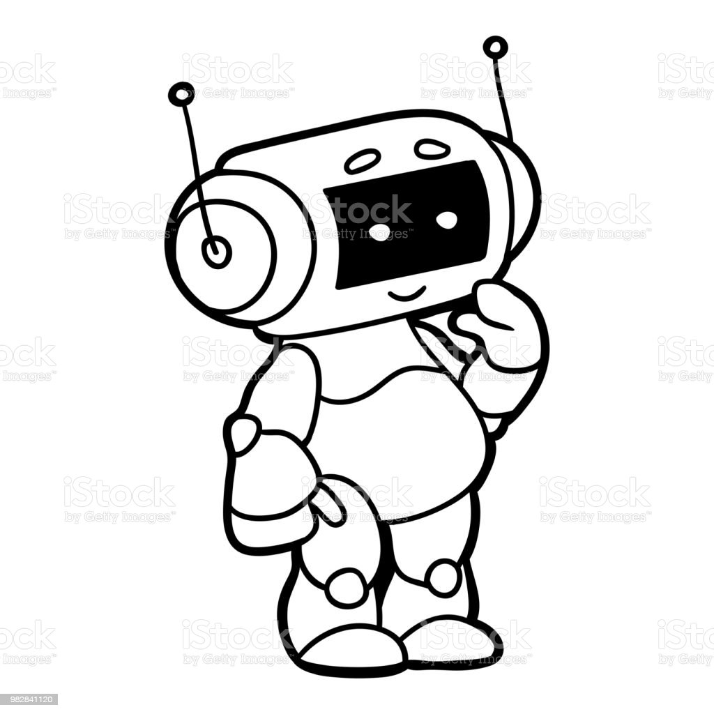 Coloring Book For Children Robot Stock Vector Art & More Images of ...