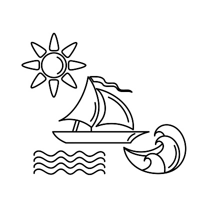 Coloring book for children. Sailing yacht in the sea, waves, sun and clouds. Line doodle sketch.