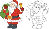 Coloring book for children: Santa Claus and bell