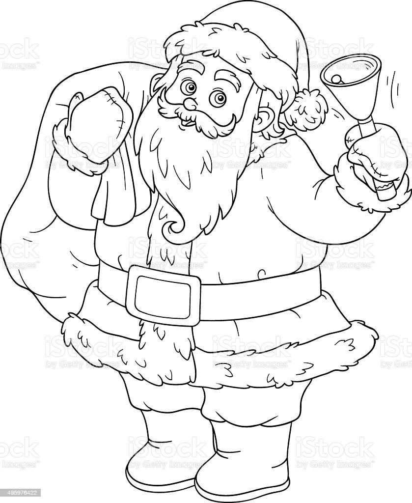 お子様にはぬりえご予約サンタクロースとベル 1人のベクターアート素材
