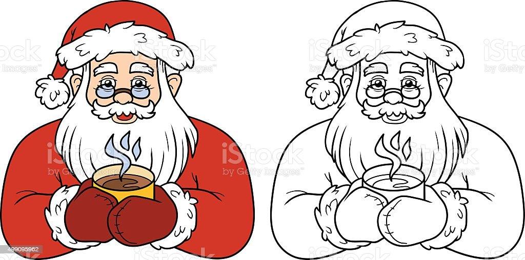 Ilustración de Libro Para Colorear Con Los Niños Santa Claus Y TÉ y ...