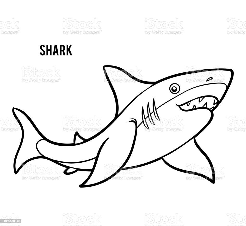 Köpekbalığı çocuklar Için Boyama Kitabı Stok Vektör Sanatı