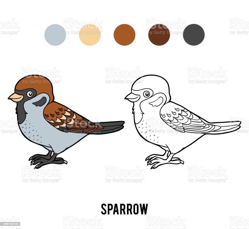 Sparrow Cocuklar Icin Boyama Kitabi Stok Vektor Sanati Anaokulu