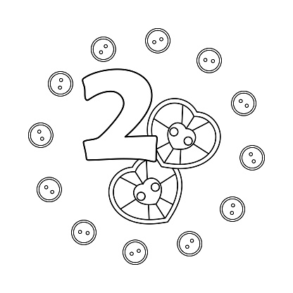 Coloring book for children. Two. Numbers. Buttons, needlework. Learning and playing.
