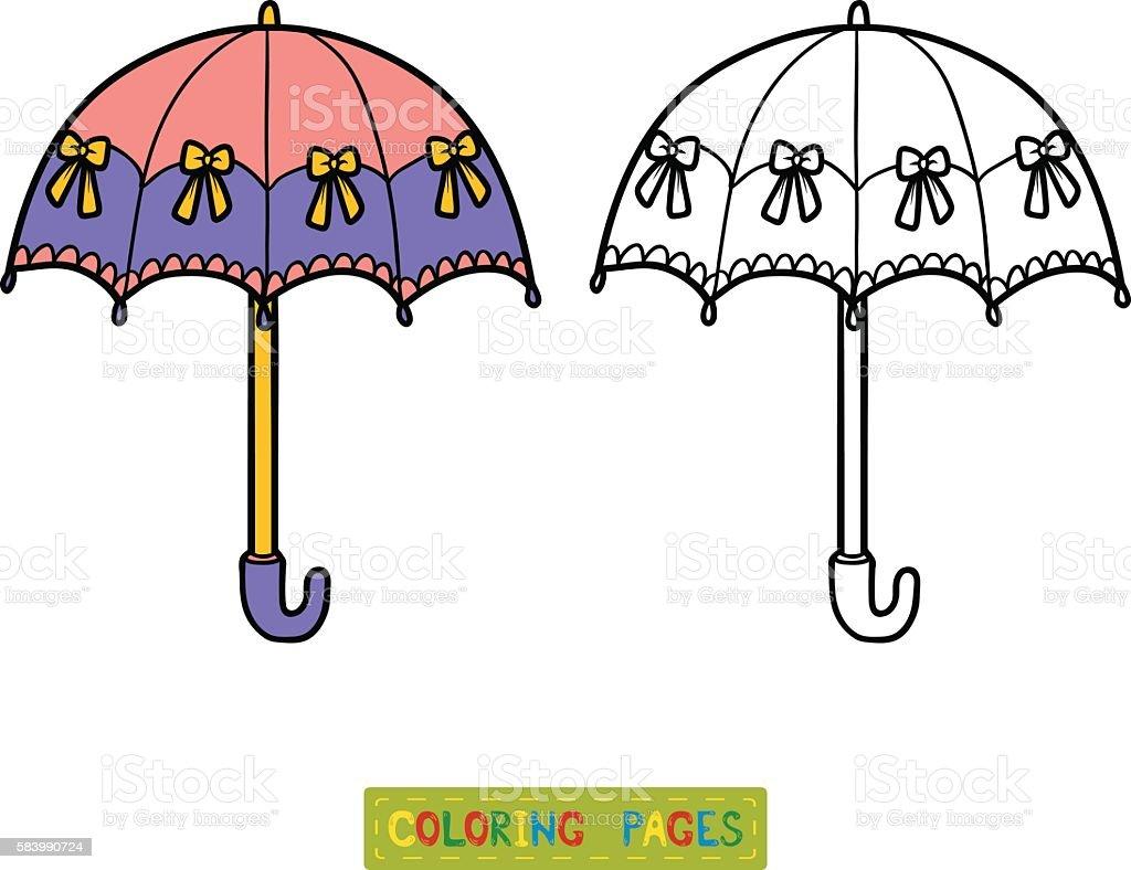 Coloring Book For Children Umbrella Royalty Free Stock Vector Art