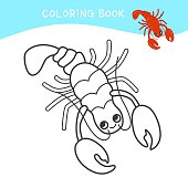 Coloring book for children. Cartoon sea animal.