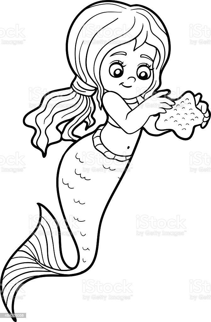 Libro Da Colorare Per Bambini Bambina Sirena Immagini Vettoriali
