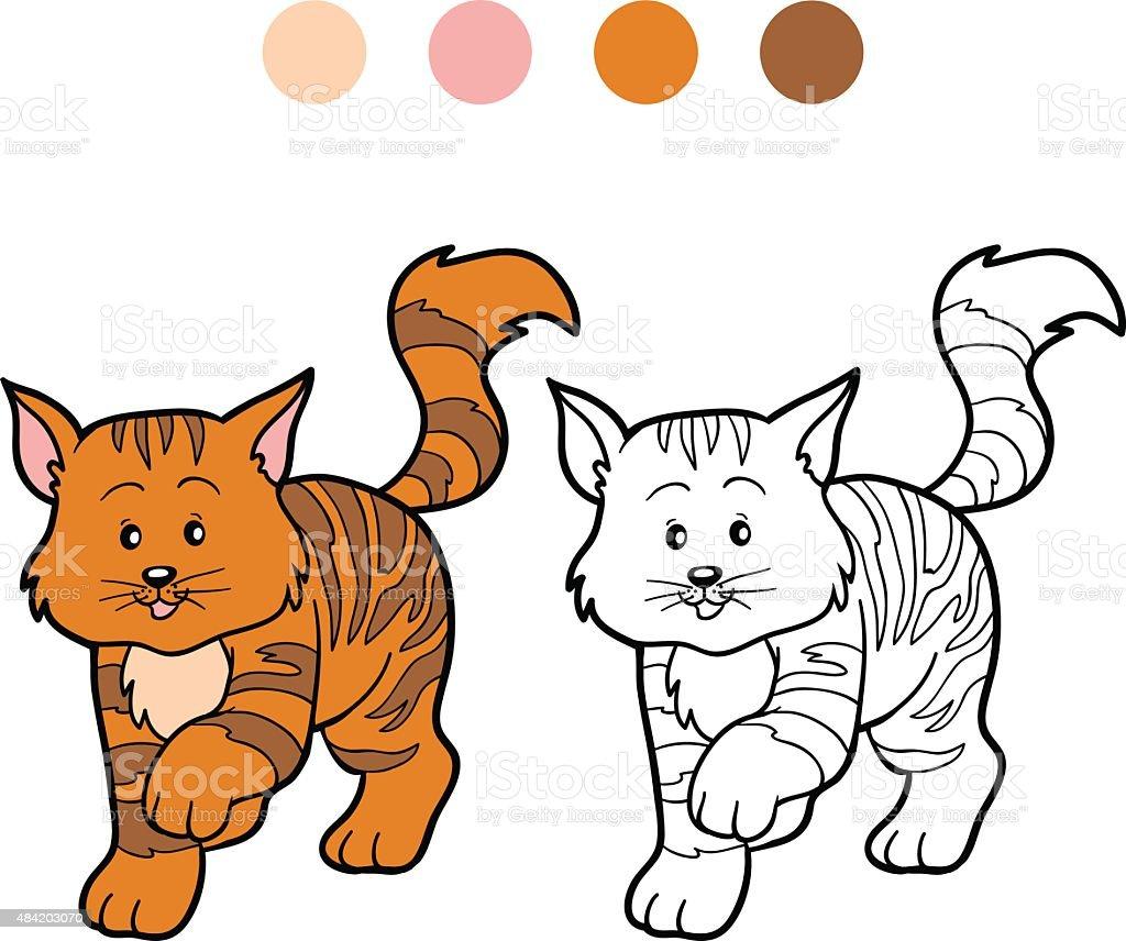 Coloriage Chat Tachete.Livre De Coloriage Pour Les Enfants Raye Chat Vecteurs Libres De