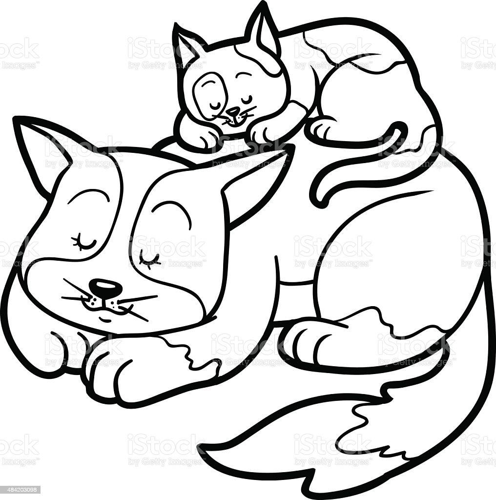 Libro para colorear con los niños (dos manchas gatos - ilustración de arte vectorial