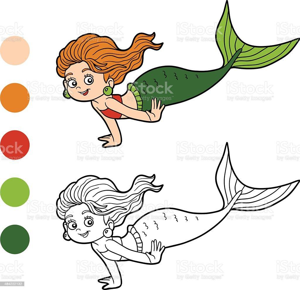 Ilustración de Libro Para Colorear Con Los Niños Niña Sirena y más ...