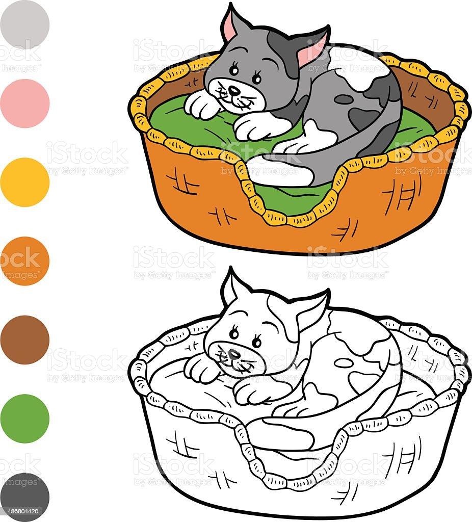 Coloriage Chat Tachete.Livre De Coloriage Pour Les Enfants Chat Dans Un Panier Vecteurs
