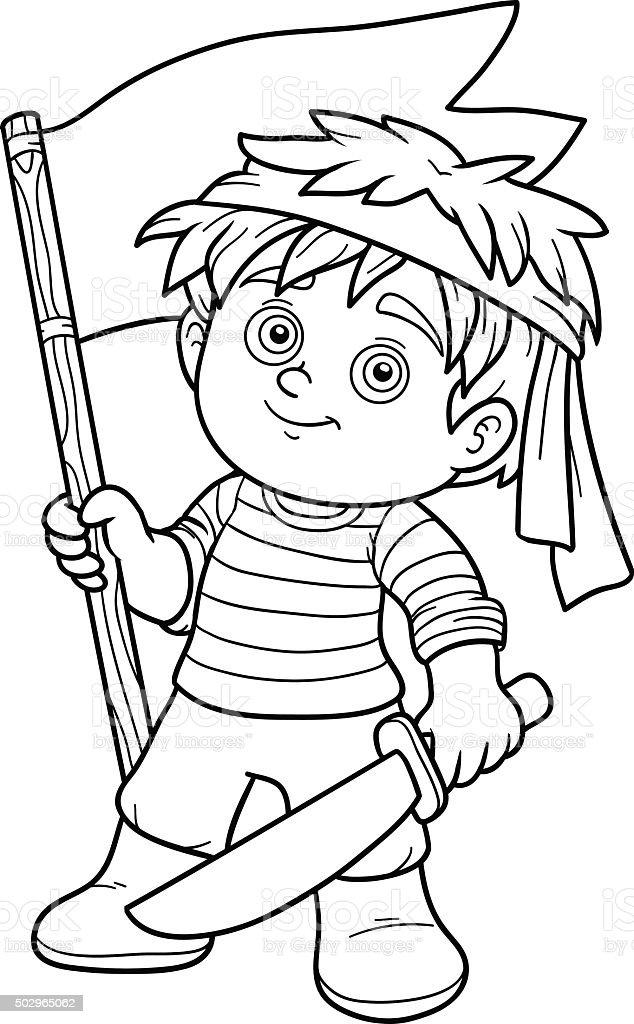 Libro Da Colorare Per Bambini Nave Pirata Ragazzo Immagini