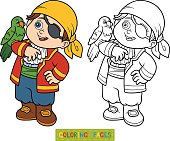 Coloring book, education game for children (pirate boy and parrot)