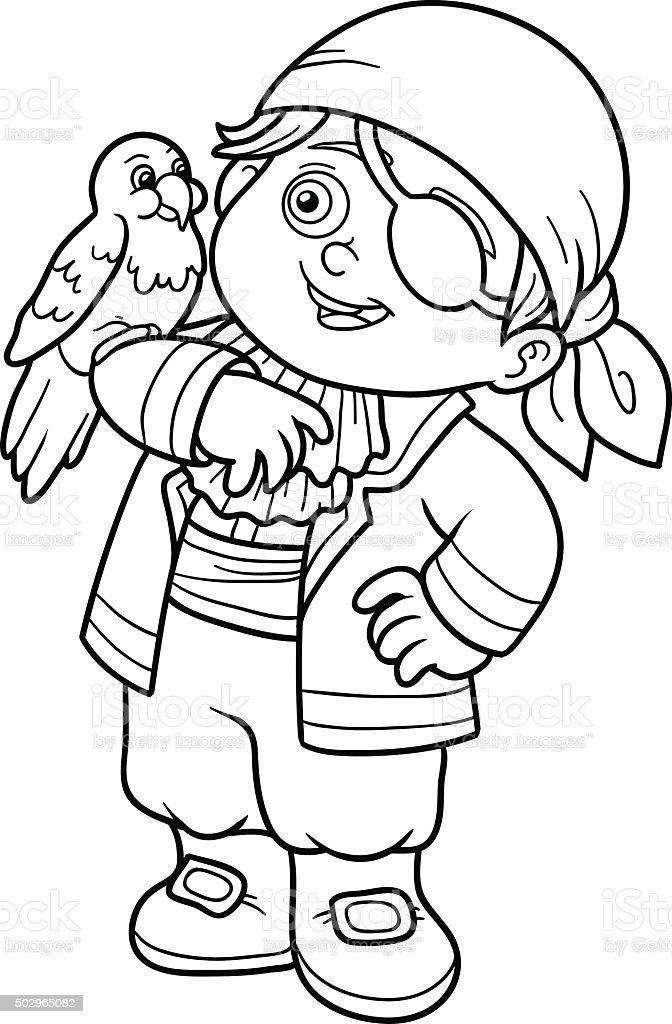 Ilustración de Libro Para Colorear Con Los Niños Pirata Boy y más