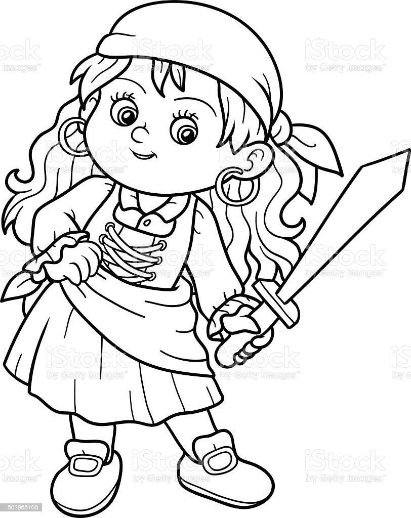 Ilustración de Libro Para Colorear Con Los Niños Pirata Girl y más ...