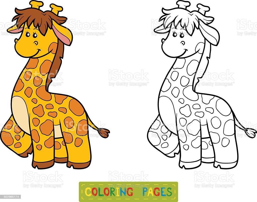Libro Da Colorare Per I Bambini Giraffa Immagini Vettoriali Stock