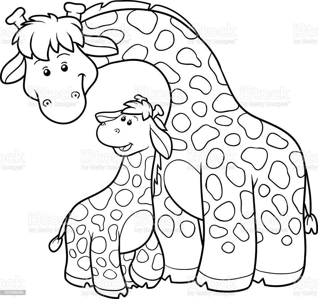 Ilustración de Libro Para Colorear Con Los Niños Dos Jirafas y más ...