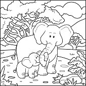 Coloring book for children (two elephants)