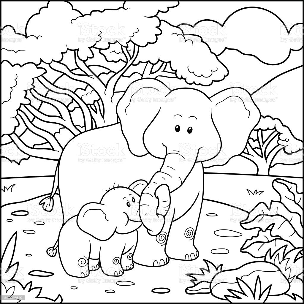 Coloring book for children (two elephants) vector art illustration