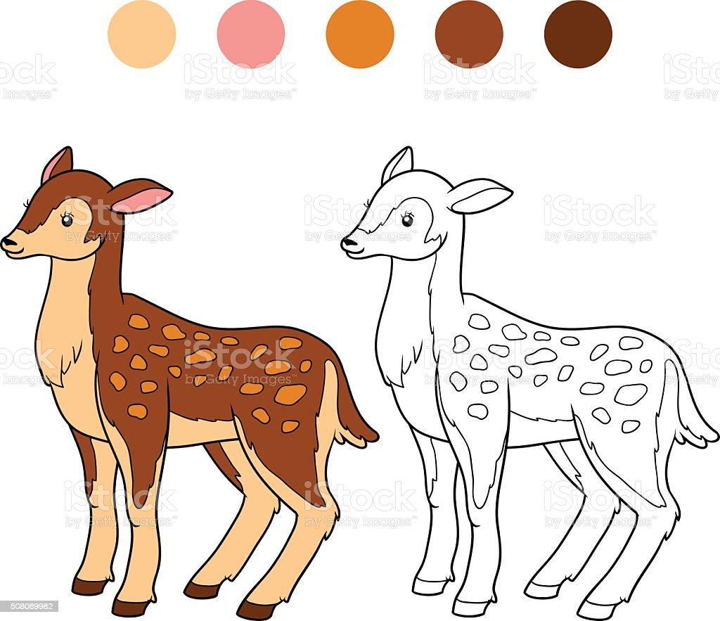 Libro Para Colorear Con Los Niños Ciervos Doe - Arte vectorial de ...