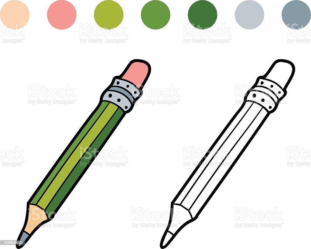 Libro Para Colorear Con Los Niños Color Lápiz - Arte vectorial de ...