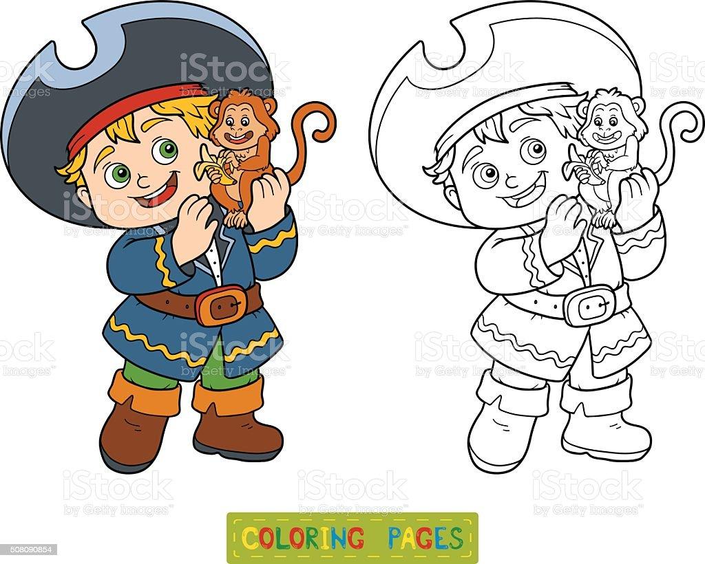Libro Para Colorear Con Los Niños Pirata Niño Y Monos - Arte ...