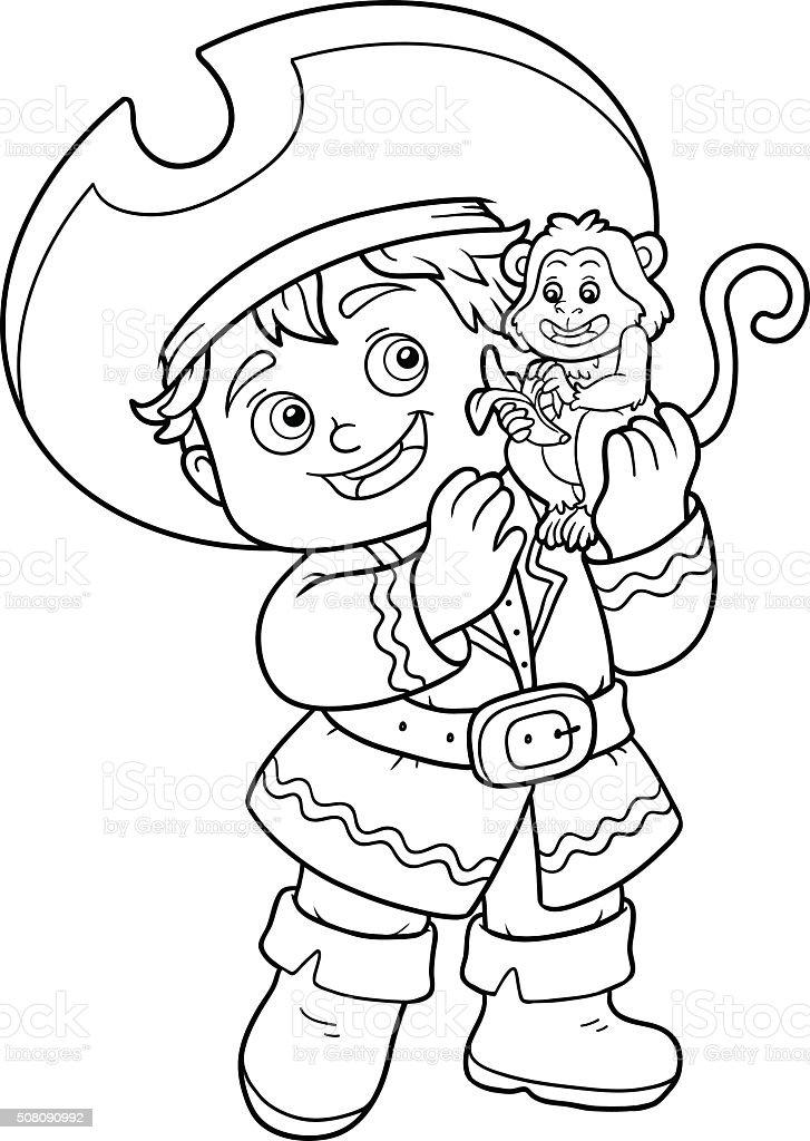 Libro Da Colorare Per I Bambini Nave Pirata Ragazzo E Monkey
